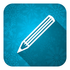pencil flat icon, christmas button