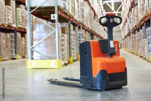 pallet stacker truck at warehouse - 74396754