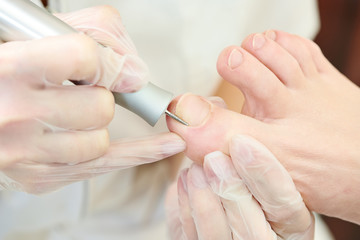 Pedicure in beauty salon