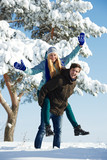 young happy people in winter