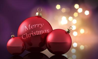 3 rote Weihnachtskugeln