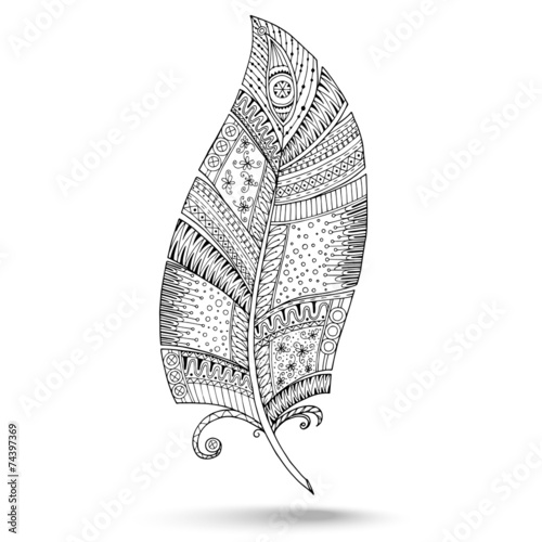 Ethnic doodle feather on white background. © juliasnegi