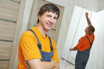 door installation carpenter worker