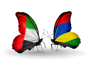 Two butterflies with flags UAE and Mauritius