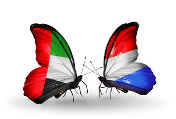 Two butterflies with flags UAE and Luxembourg