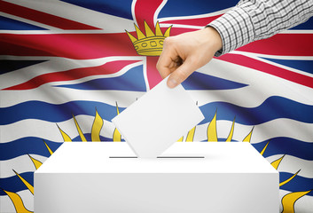 Ballot box with national flag on background - British Columbia