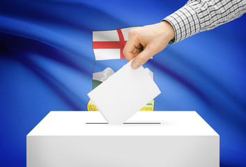 Ballot box with national flag on background - Alberta