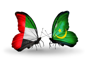 Two butterflies with flags UAE and Mauritania