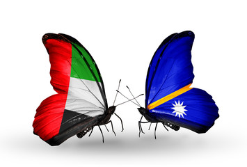 Two butterflies with flags UAE and Nauru