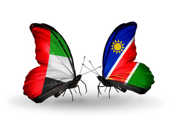 Two butterflies with flags UAE and Namibia