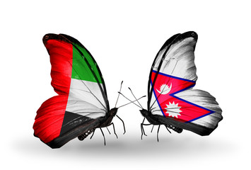 Two butterflies with flags UAE and Nepal