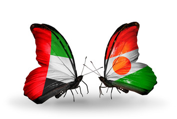 Two butterflies with flags  UAE and Niger