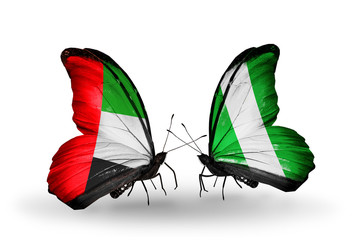 Two butterflies with flags  UAE and Nigeria