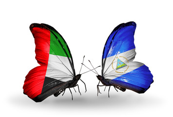 Two butterflies with flags  UAE and Nicaragua