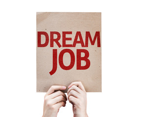 Dream Job card isolated on white background