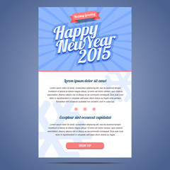 Happy New Year Holiday Greeting email template in flat style.