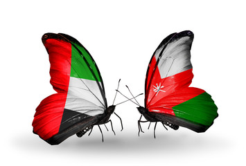Two butterflies with flags  UAE and Oman
