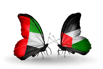 Two butterflies with flags UAE and Palestine