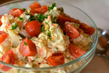 Homemade  Potato Salad with Eggs and Pickles