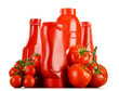 canvas print picture - Composition with ketchup and fresh tomatoes