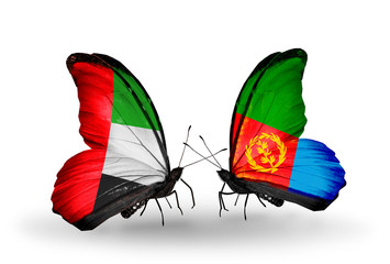 Two butterflies with flags  UAE and Eritrea