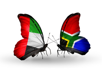 Two butterflies with flags UAE and South Africa