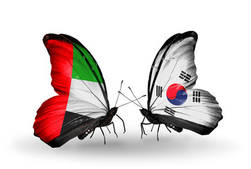Two butterflies with flags  UAE and South Korea