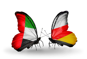Two butterflies with flags  UAE and South Ossetia
