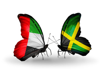 Two butterflies with flags  UAE and Jamaica