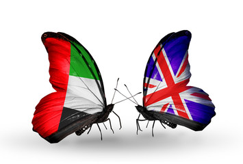 Two butterflies with flags UAE and  UK