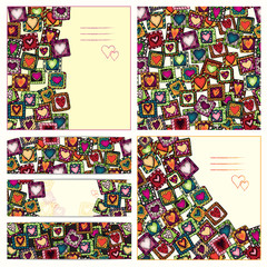 Set of love cards and seamless pattern.