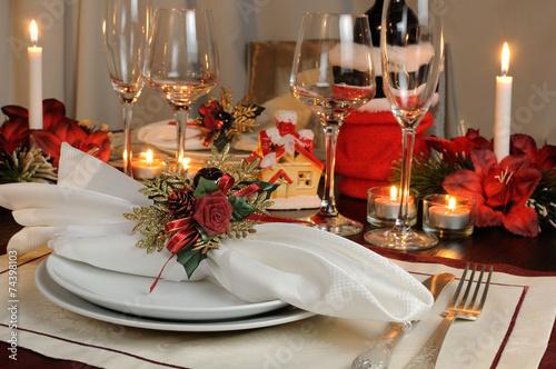 Festive Christmas table decoration - 74398103