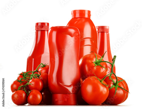 canvas print picture Composition with ketchup and fresh tomatoes