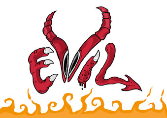 Evil Drawing Text Conceptual Symbol with Hellfire