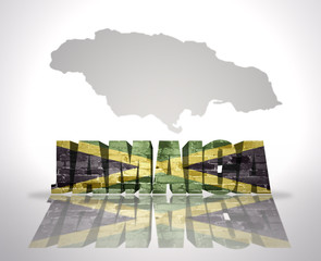 Word Jamaica on a map background