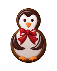 penguin illustration, Christmas gingerbread cookie