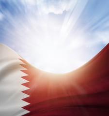 Qatar flag and sky