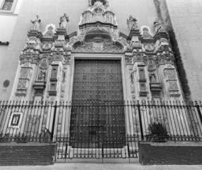 Seville - The baroque portal of church Iglesia los Terceros