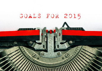 Old typewriter with sample text GOALS FOR 2015