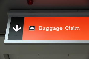 Baggage claim sign in Las Vegas airport