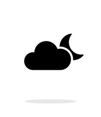 Cloudy night weather icon on white background.