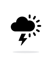 Lightning with sun weather icon on white background.