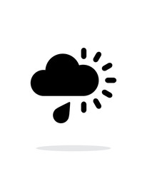 Cloudy with rain weather icon on white background.