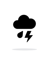 Rain with lightning weather icon on white background.