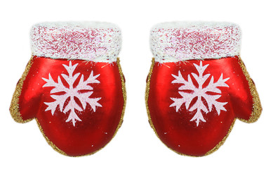 Two bright Christmas tree toys red mitten