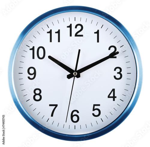Leinwandbild Motiv Wall clock isolated on white. Ten past ten.