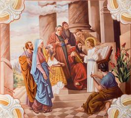 Little Jesus teaching in the temple fresco - Slovakia