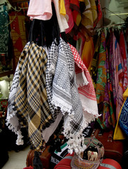 Sale of clothes in the ware market in Jerusalem, Israel