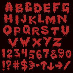 Red font smudges. alphabet splashing
