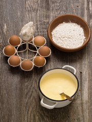 pot of creamy custard sauce, egg and flour